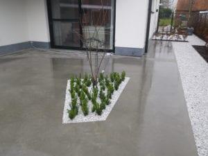Gepolierde beton + kiezels